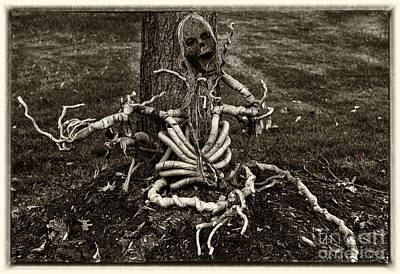 Halloween Green Skeleton Black And White Art Print