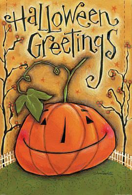 Pumpkins Painting - Halloween Greetings by Anne Tavoletti