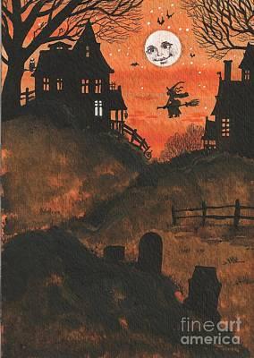 Haunted House Painting - Halloween Hamlet by Margaryta Yermolayeva