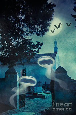 Graveyard Digital Art - Halloween Illustration With Evil Spirits by Mythja  Photography