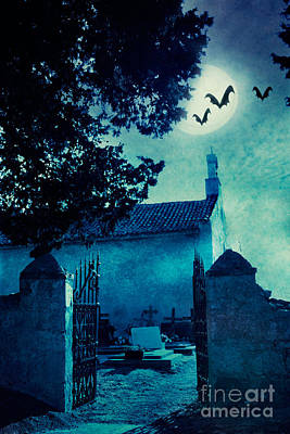 Halloween Illustration With Graveyard Print by Mythja  Photography