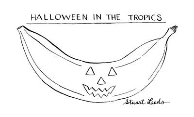 Banana Drawing - Halloween In The Tropics by Stuart Leeds