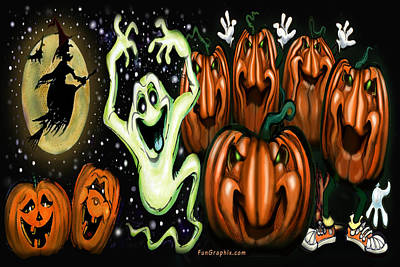Pumpkin Painting - Halloween by Kevin Middleton