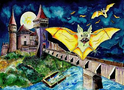 Dracula Drawing - Halloween Landscape With Bats And Transylvanian Castle by Ion vincent DAnu
