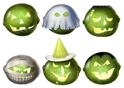 Green Monster Painting - Halloween Limes Monsters by Walt Curlee