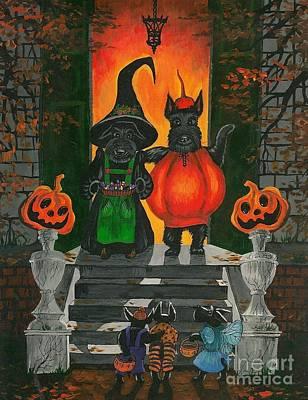 Scottish Terrier Puppy Painting - Halloween Macduff by Margaryta Yermolayeva