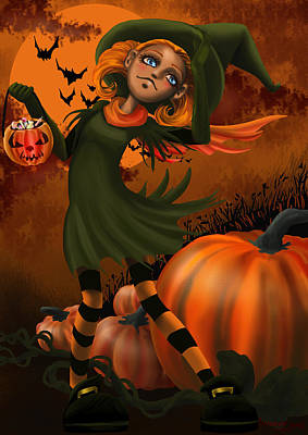 Food And Flowers Still Life - Halloween by Merche Garcia