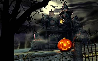 Spooky Digital Art - Halloween Night At The Mansion  by Movie Poster Prints