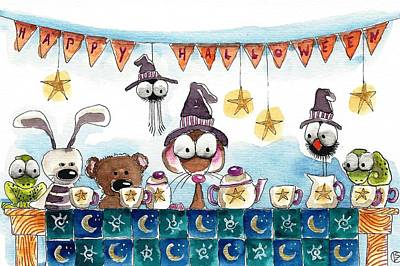 Table Cloth Painting - Halloween Party by Lucia Stewart