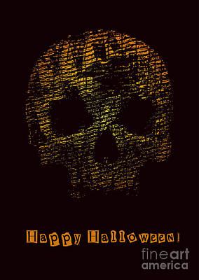 Glow Digital Art - Halloween Poster With Skull. Vector by Jumpingsack