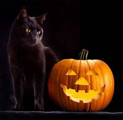 Halloween Pumpkin And Cat Art Print by Dirk Ercken