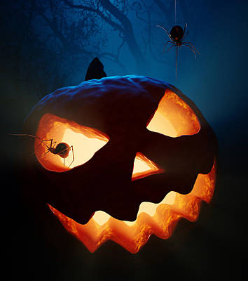 Halloween Pumpkin And Spiders Art Print by Johan Swanepoel