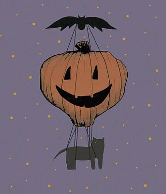 Pumpkins Painting - Halloween Pumpkin Balloon by Sarah Ogren