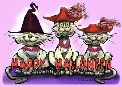 Halloween Red Hats Art Print