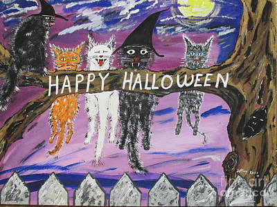 Four Animal Faces Painting - Halloween Scaredy Cats by Jeffrey Koss