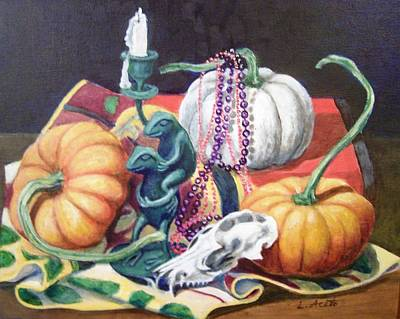 Art Print featuring the painting Halloween Scene by Laura Aceto
