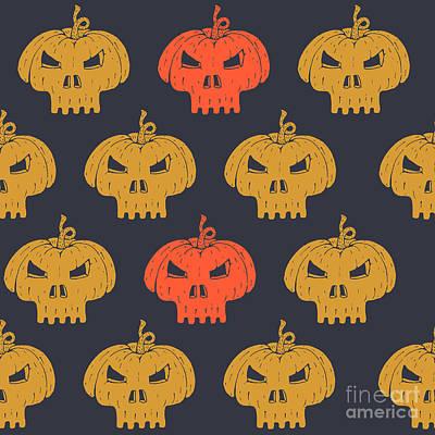 Autumn Digital Art - Halloween Seamless Pattern With by Kirill Kalchenko