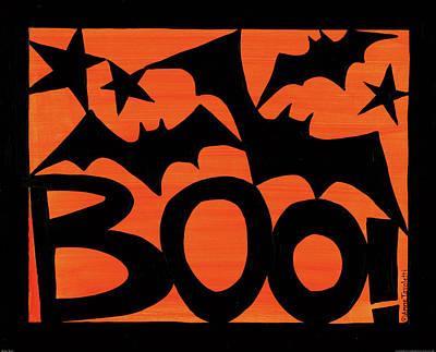 Bat Painting - Halloween Silhouette IIi by Anne Tavoletti
