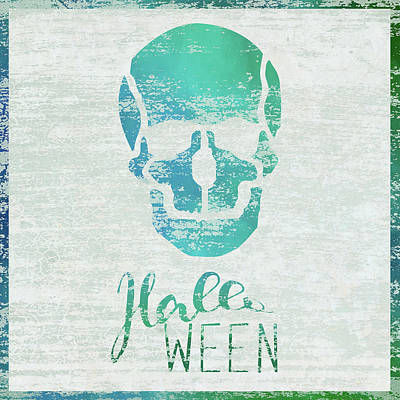 Halloween Sign Painting - Halloween Skull by Cora Niele