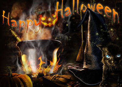 Digital Art - Halloween' Spirit Greeting Card by Alessandro Della Pietra