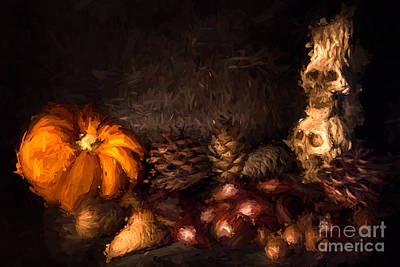 Candle Stick Digital Art - Halloween Still Life - 2 - Digital Painting by Ann Garrett