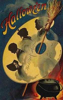 Cauldron Painting - Halloween The Black Art by Ellen Hattie Clapsaddle