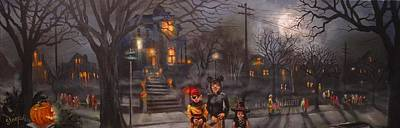 Haunted House Painting - Halloween Trick Or Treat by Tom Shropshire