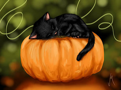 Cards Digital Art - Halloween by Veronica Minozzi