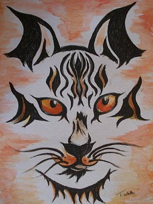 Art Print featuring the painting Halloween Wild Cat by Teresa White