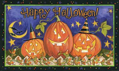 Jack O Lanterns Painting - Halloween Wishes I by Anne Tavoletti