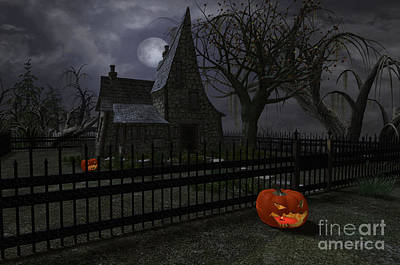 Halloween Witch House - 1 Art Print by Fairy Fantasies