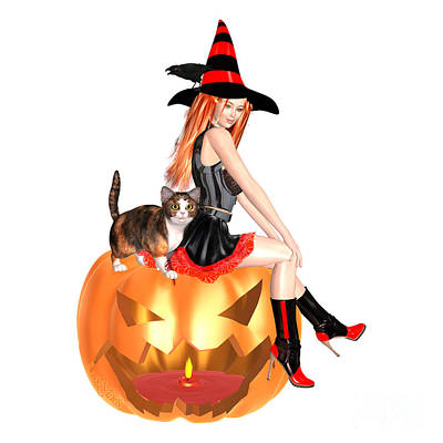 Halloween Witch Nicki With Kitten Art Print