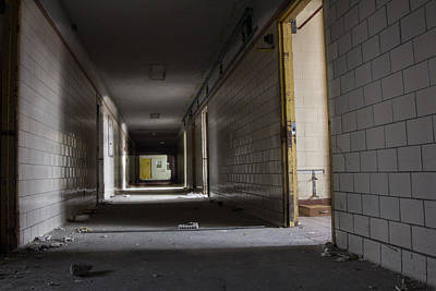 Photograph - Hallway In Northville Michigan Abandoned Asylum  by John McGraw