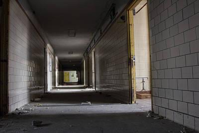 Abandoned Insane Asylum Photograph - Hallway In Northville Michigan Abandoned Asylum  by John McGraw