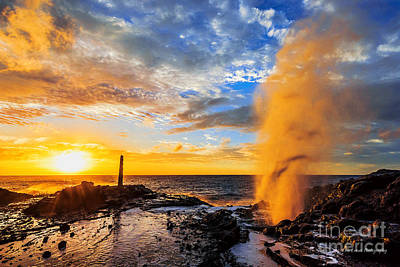 Art Print featuring the photograph Halona Blowhole At Sunrise by Aloha Art