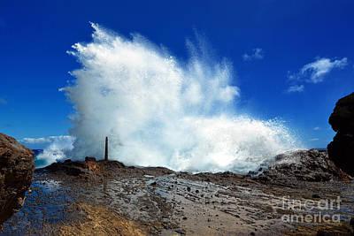 Halona Blowhole Crashing Wave Art Print by Aloha Art