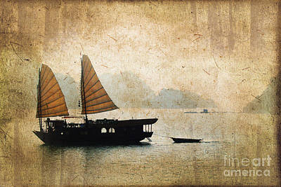 Mountain Royalty-Free and Rights-Managed Images - Halong Bay vintage by Delphimages Photo Creations