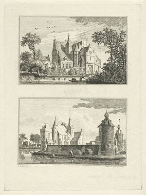 Stein Drawing - Halsaf Castle And Castle Grondstein, The Netherlands by Paulus Van Liender
