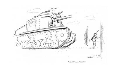 Sentry Drawing - Halt! . . . Please by  Alain