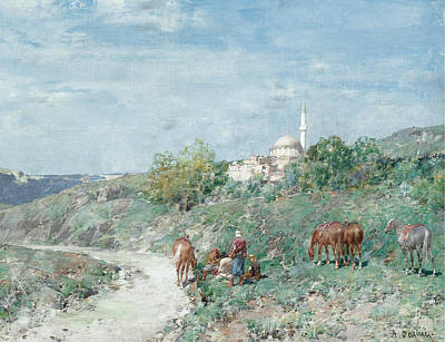 Charity Painting - Halt Outside A Turkish Hill Town by Celestial Images