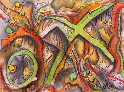 Colored Pencil Abstract Mixed Media - Ham And X by Brian Gilna