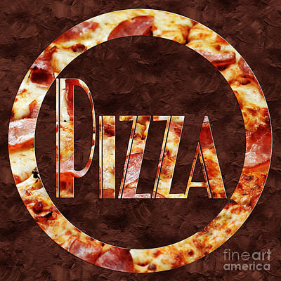 Photograph - Ham Pizza Typography Square 1 by Andee Design