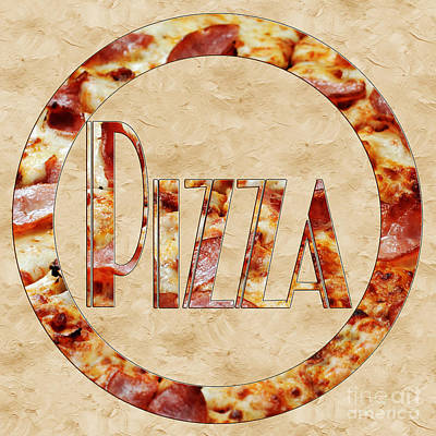Photograph - Ham Pizza Typography Square 2 by Andee Design