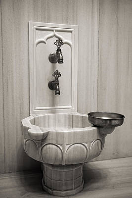 Photograph - Hamam Marble Sink In Istanbul Black And White by For Ninety One Days
