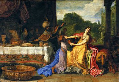 Esther Painting - Haman Begging Esther For Mercy by Pieter Lastman