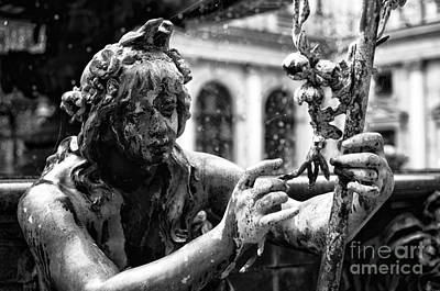 Photograph - Hamburg Fountain Faerie Mono  by John Rizzuto