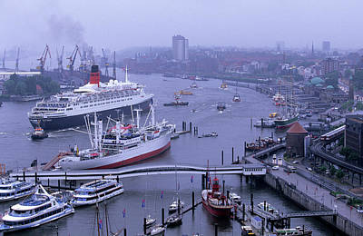 Boat Basins Photograph - Hamburg, Germany Harbor And  Elbe River by Marc Steinmetz