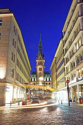 Photograph - Hamburg Rathaus At Night by Allan Baxter
