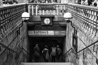 Photograph - Hamburg Rathaus Station Mono by John Rizzuto