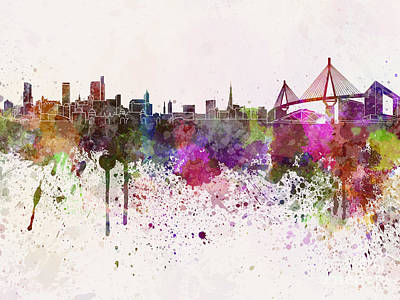 Hamburg Skyline In Watercolor Background Art Print by Pablo Romero